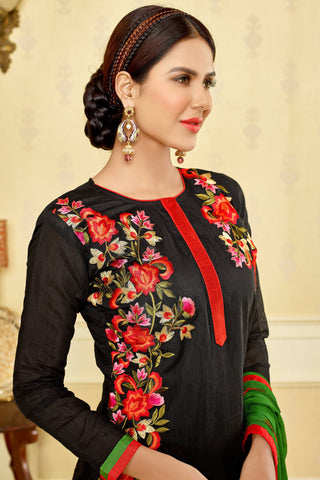 Designer Straight Cut:atisundar Awesome Black Designer Party Wear Embroidered Straight Cut  - 12677