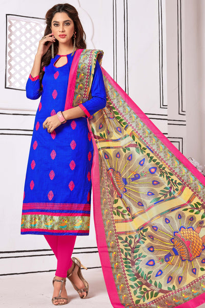 Designer Straight Cut Suit With Digital Print Dupatta:atisundar radiant Blue Designer unstitched embroidered straight cut suits - 14690 - click to zoom