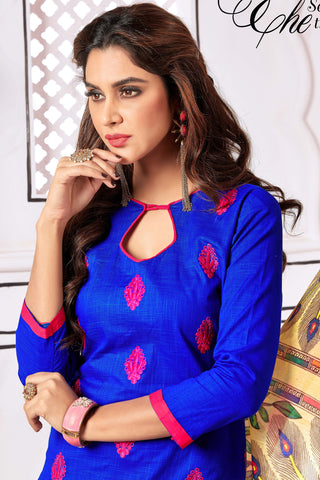 Designer Straight Cut Suit With Digital Print Dupatta:atisundar radiant Blue Designer unstitched embroidered straight cut suits - 14690