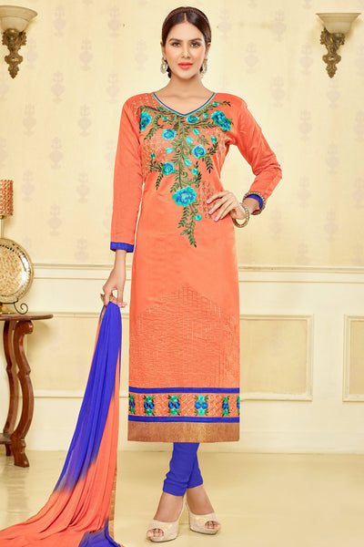 Designer Straight Cut:atisundar refined Orange Designer Party Wear Embroidered Straight Cut  - 12678 - click to zoom