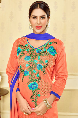 Designer Straight Cut:atisundar refined Orange Designer Party Wear Embroidered Straight Cut  - 12678