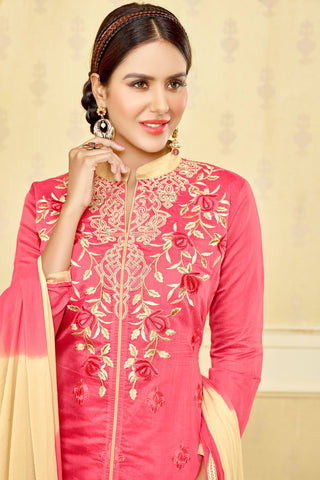 Designer Straight Cut:atisundar stunning Pink Designer Party Wear Embroidered Straight Cut  - 12680