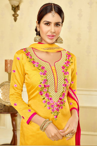 Designer Straight Cut:atisundar appealing Yellow Designer Party Wear Embroidered Straight Cut  - 12681
