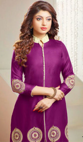 Designer Straight Cut Suit:atisundar charming Purple Embroidered Straight Cut Suits In Cambric Cotton - 10174 - atisundar - 2