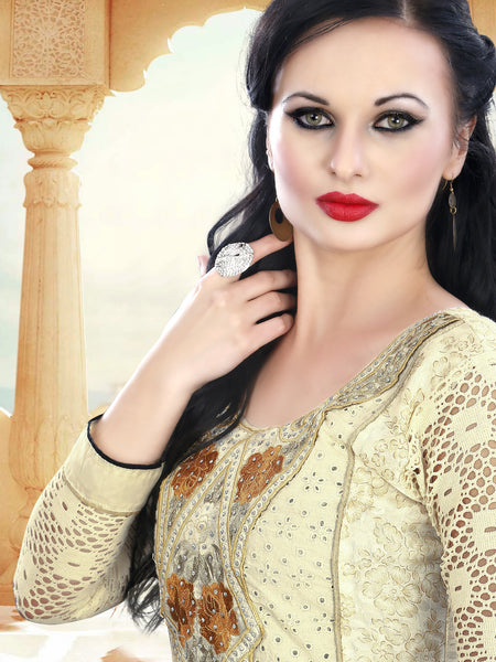 Pure Cotton Delite:atisundar elegant   in Cream - 5635 - atisundar - 3 - click to zoom