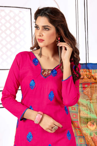 Designer Straight Cut Suit With Digital Print Dupatta:atisundar dazzling Pink Designer unstitched embroidered straight cut suits - 14695