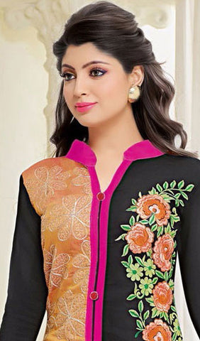 Designer Embroidered Straight Cut Suit:atisundar cute Orange And Black Embroidered Straight Cut in Chanderi - 9684 - atisundar - 2