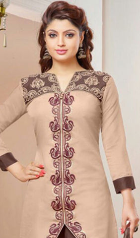 Designer Straight Cut Suit:atisundar gorgeous Beige Embroidered Straight Cut Suits In Cambric Cotton - 10175 - atisundar - 3