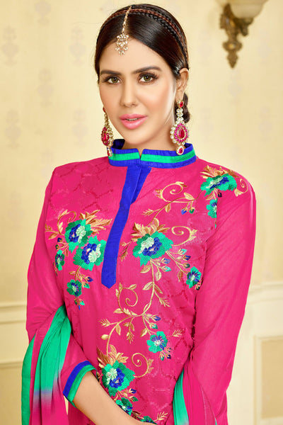 Designer Straight Cut:atisundar splendid Pink Designer Party Wear Embroidered Straight Cut  - 12684 - click to zoom