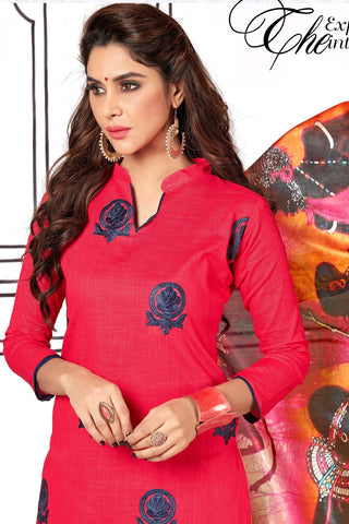 Designer Straight Cut Suit With Digital Print Dupatta:atisundar delightful Pink Designer unstitched embroidered straight cut suits - 14697
