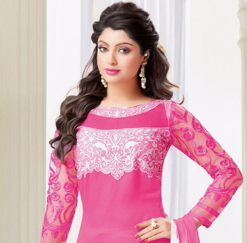 Designer Embroidered Straight Cut Suits:atisundar classy Pink Embroidered Straight Cut in Chanderi - 9670 - atisundar - 2