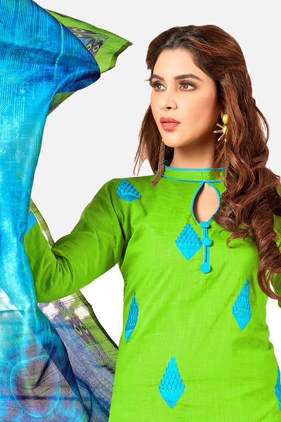 Designer Straight Cut Suit With Digital Print Dupatta:atisundar splendid Green Designer unstitched embroidered straight cut suits - 14708 - click to zoom
