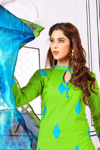 Designer Straight Cut Suit With Digital Print Dupatta:atisundar splendid Green Designer unstitched embroidered straight cut suits - 14708
