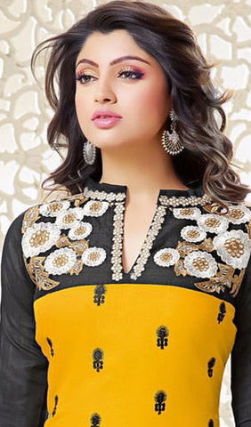 Designer Embroidered Straight Cut Suits:atisundar superb Black And Yellow Embroidered Straight Cut in Chanderi - 9672 - atisundar - 2