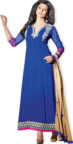 The Sushmita Sen Collection: atisundar Sia: Designer Embroidered Semi stitched Anarkali  - 4428 - atisundar - 1 - click to zoom