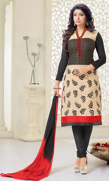 Designer Embroidered Straight Cut Suits:atisundar exquisite Black And Cream Embroidered Straight Cut in Chanderi - 9677 - atisundar - 1 - click to zoom