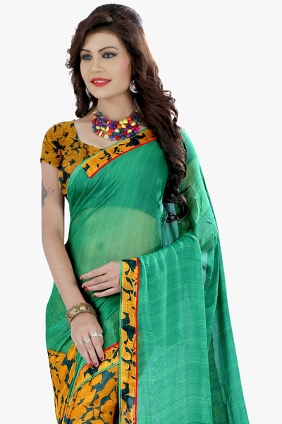 Designer Party wear Saree:atisundar comely Designer Printed Saree in Faux Bhagalpuri Silk in Sea Green  - 11499 - click to zoom