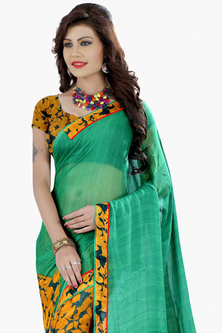 Designer Party wear Saree:atisundar comely Designer Printed Saree in Faux Bhagalpuri Silk in Sea Green  - 11499 - atisundar - 2 - click to zoom