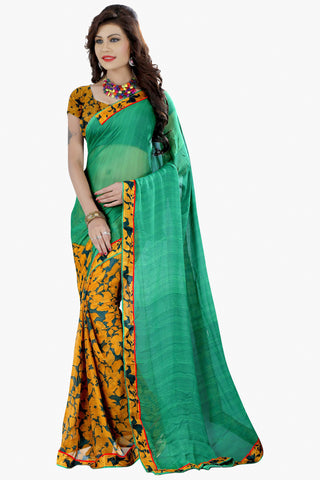 Designer Party wear Saree:atisundar comely Designer Printed Saree in Faux Bhagalpuri Silk in Sea Green  - 11499 - atisundar - 1 - click to zoom
