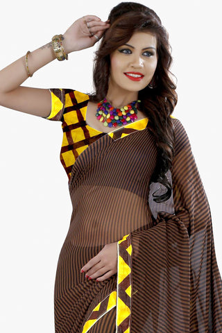 Designer Party wear Saree:atisundar stunning Designer Printed Saree in Faux Bhagalpuri Silk in Brown  - 11500 - atisundar - 2