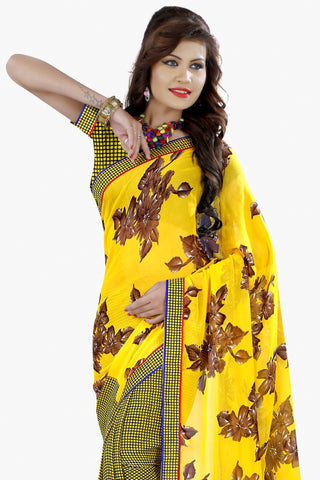 Designer Party wear Saree:atisundar Awesome Designer Printed Saree in Faux Bhagalpuri Silk in Yellow  - 11501 - atisundar - 2