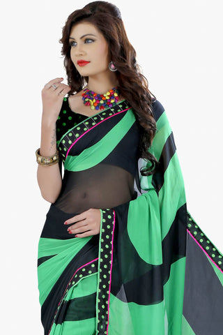 Designer Party wear Saree:atisundar splendid Designer Printed Saree in Faux Bhagalpuri Silk in Black And Sea Green  - 11504 - atisundar - 2