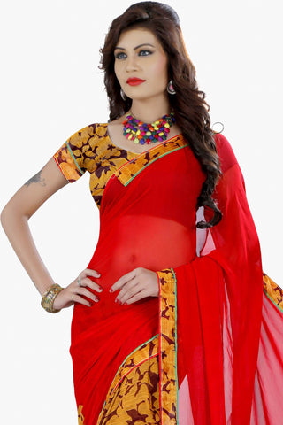 Designer Party wear Saree:atisundar classy Designer Printed Saree in Faux Bhagalpuri Silk in Red  - 11505 - atisundar - 2