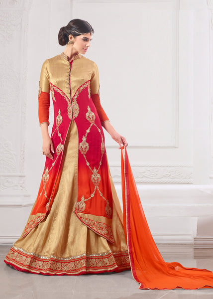 Designer Embroidered Suit:atisundar Lovely Pink And Orange Designer Embroidered Suits - 8689 - atisundar - 4 - click to zoom