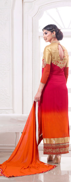Designer Embroidered Suit:atisundar Lovely Pink And Orange Designer Embroidered Suits - 8689 - atisundar - 3 - click to zoom