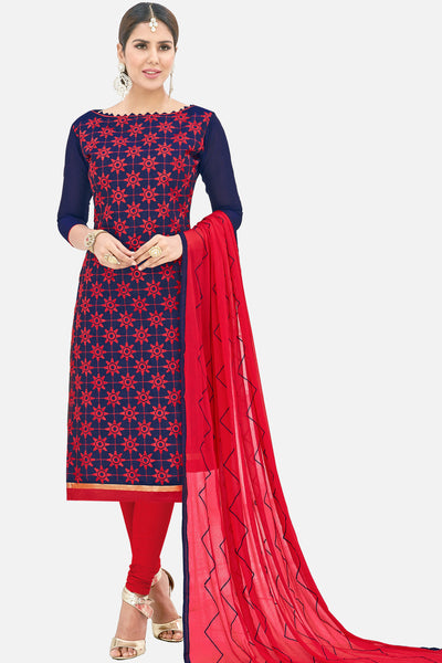 Designer Straight Cut Suit with Embroidered Dupatta:atisundar magnificent Blue Embroidered Straight Cut in Chanderi - 15138 - click to zoom