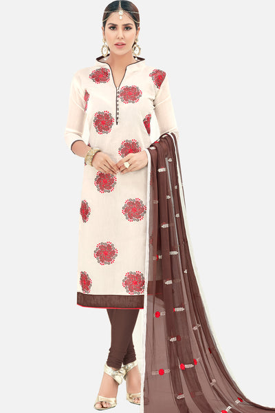 Designer Straight Cut Suit with Embroidered Dupatta:atisundar fascinating Off White Embroidered Straight Cut in Chanderi - 15143 - click to zoom