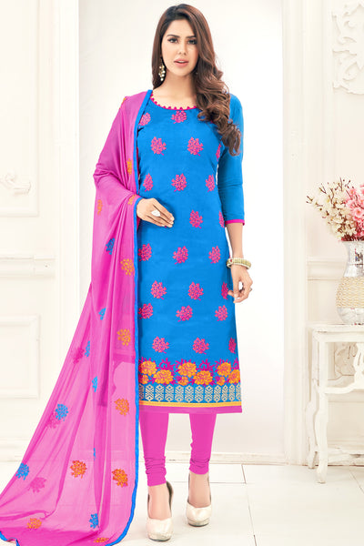 Designer Straight Cut Suit with Embroidered Dupatta:atisundar gorgeous Blue Embroidered Straight Cut in Chanderi - 15144 - click to zoom