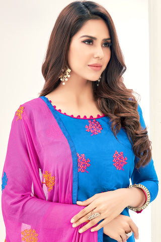 Designer Straight Cut Suit with Embroidered Dupatta:atisundar gorgeous Blue Embroidered Straight Cut in Chanderi - 15144