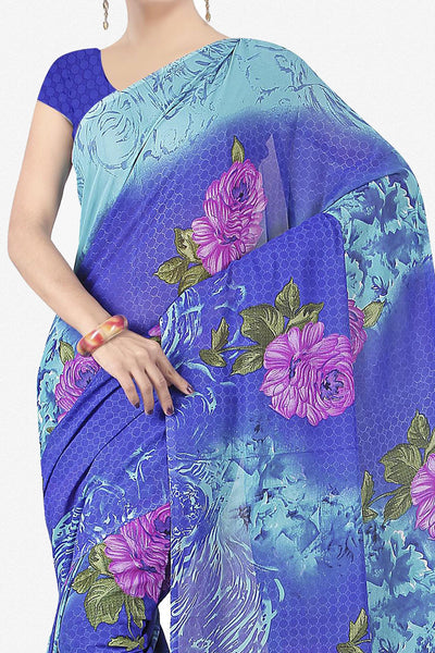 Designer Saree:atisundar radiant Designer Saree in Faux Georgette in Blue  - 11732 - click to zoom
