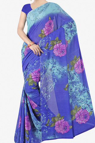 Designer Saree:atisundar radiant Designer Saree in Faux Georgette in Blue  - 11732 - atisundar - 1 - click to zoom