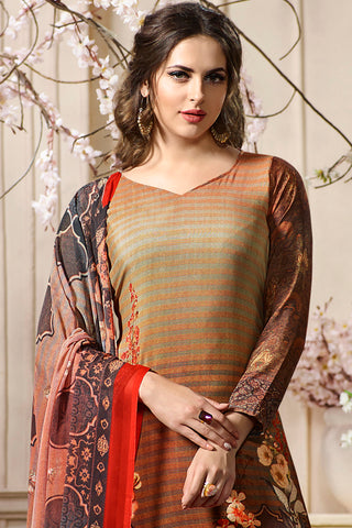 Digital Printed Crape Straight Cut Suit:atisundar Lovely Brown Designer Straight Cut  - 15287