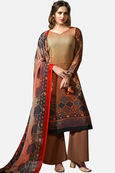 Digital Printed Crape Straight Cut Suit:atisundar Lovely Brown Designer Straight Cut  - 15287 - click to zoom
