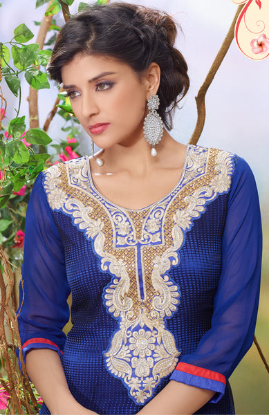 Designer Embroidered Partywear Straight Cut Suit In Faux Georgette:atisundar splendid Blue Designer Embroidered Partywear Suits in Straight Cut - 6389 - atisundar - 4 - click to zoom