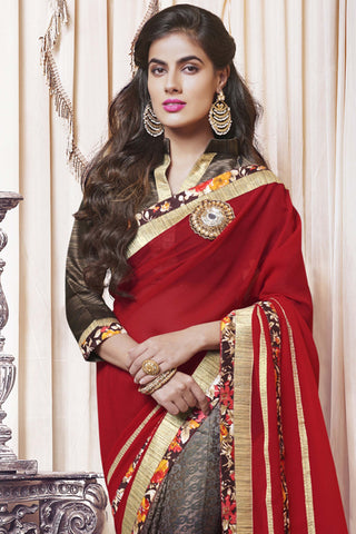 Designer Party wear Saree:atisundar gorgeous Designer Party Wear Saree with Border in Multi  - 11993 - atisundar - 4