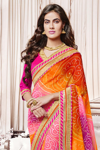 Designer Party wear Saree:atisundar Charismatic Designer Party Wear Saree with Border in Pink And Orange  - 11998 - atisundar - 4