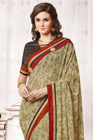 Designer Party wear Saree:atisundar radiant Designer Party Wear Saree with Border in Brown  - 12015 - atisundar - 4