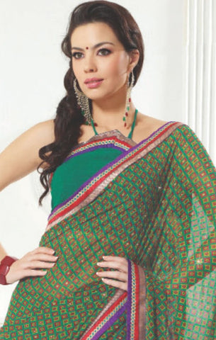 atisundar Mandira: Beautiful Green Chiffon Saree - atisundar - 3