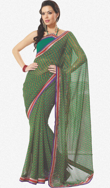 atisundar Mandira: Beautiful Green Chiffon Saree - atisundar - 1 - click to zoom