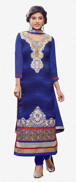 Designer Embroidered Partywear Straight Cut Suit In Faux Georgette:atisundar splendid Blue Designer Embroidered Partywear Suits in Straight Cut - 6389 - atisundar - 2 - click to zoom