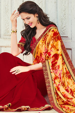 Designer Sarees:atisundar admirable Designer Party Wear Saree with Border by Indian Women in Yellow And Red  - 12302 - atisundar - 3