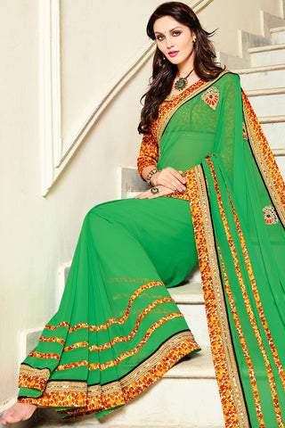 Designer Sarees:atisundar angelic Designer Party Wear Saree with Border by Indian Women in Green  - 12303 - atisundar - 3