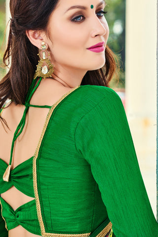 Designer Sarees:atisundar magnificent Designer Party Wear Saree with Border by Indian Women in Green  - 12313 - atisundar - 4