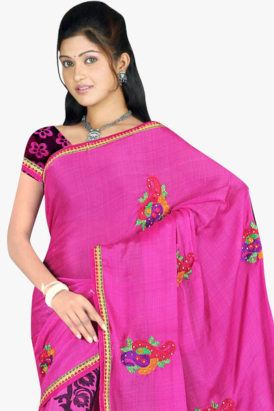 Designer Party wear Saree:atisundar Charismatic Designer Printed Saree in Faux Bhagalpuri Silk in Pink  - 11498 - click to zoom