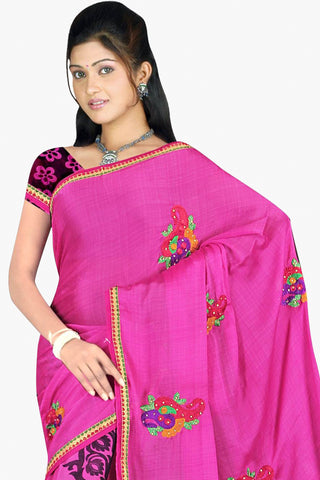 Designer Party wear Saree:atisundar Charismatic Designer Printed Saree in Faux Bhagalpuri Silk in Pink  - 11498 - atisundar - 2