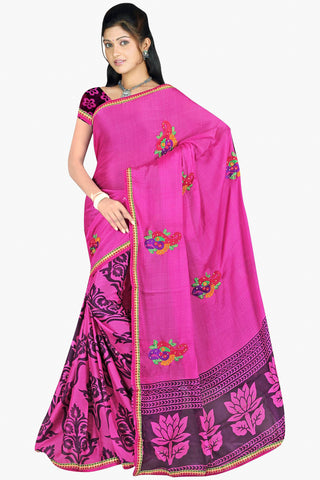 Designer Party wear Saree:atisundar Charismatic Designer Printed Saree in Faux Bhagalpuri Silk in Pink  - 11498 - atisundar - 1 - click to zoom